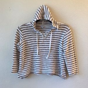 Sonoma Womens Cropped Hooded Sweater Lace Up